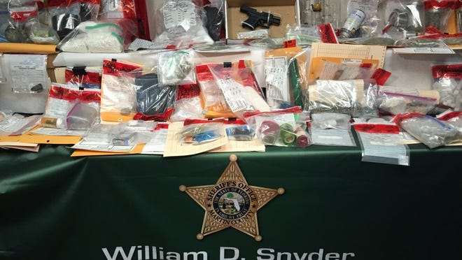 Evidence of drugs and paraphernalia seized during a Martin County Sheriff's Office interdiction in March 2016 on Interstate 95.