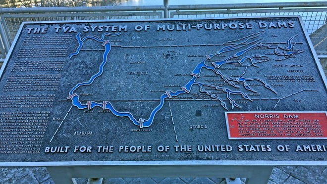 This plaque at the Norris Dam Overlook off U.S. 441 shows the TVA system of dams, with information about Norris, which was completed in 1936. G. CHAMBERS WILLIAMS III/NEWS SENTINEL
