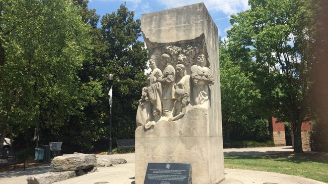 The Treaty of the Holston is remembered in this statue in a park at downtown Knoxville's Volunteer Landing. Photo by Amy McRary/News Sentinel staff.