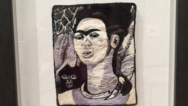 Knoxville artist Marcia Goldenstein's intricately done, hand-embroidered series of female artists includes this image of Frida Kahlo. The series 'Women in Stitches' is part of a September exhibit at the University of Tennessee Downtown Gallery.