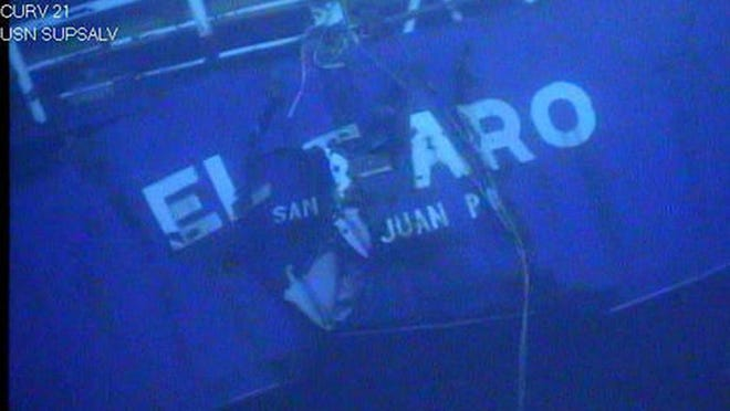 This undated image made from a video by the National Transportation Safety Board shows the stern of the sunken ship El Faro. Federal accident investigators on Tuesday released a transcript of audio recovered from the bridge of the doomed freighter, which sank last year in a hurricane near the Bahamas. The recordings were transcribed from the ship's voyage data recorder, by the NTSB.