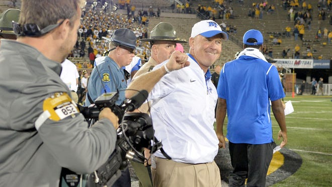 Middle Tennessee State coach Rick Stockstill celebrates after the 51-45 win over Missouri on Oct. 22, 2016.