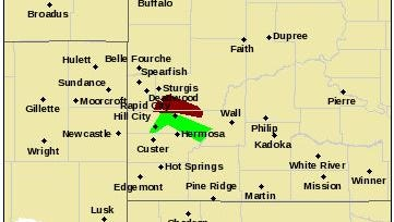 This National Weather Service graphic shows a flash flood warning that runs until 9:15 a.m. Tuesday in red and flood warning that runs until 1:30 p.m. Saturday in green
