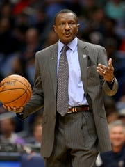 Nov 15, 2017; New Orleans, LA, USA; Raptors coach Dwane Casey in the second quarter against the Pelicans at the Smoothie King Center.