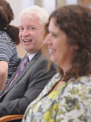Donald Williams, left, serves as president on the board of directors at the Arts Consortium. Caroline Koontz, executive director, is at right. Under her tutelage, the nonprofit has grown from a walk-through desk in city office space at the Visalia Transit Center to the 2,500 square-foot building at School Avenue and Church Street with an annual operating budget of $250,000.