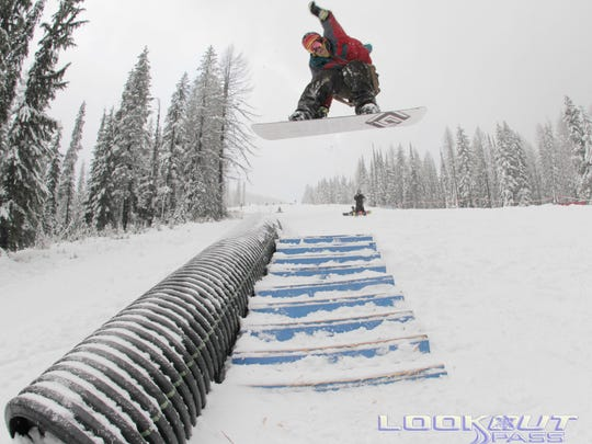 A rider catches air on one of the three terrain parks at Lookout Pass. The ski area is 100 miles west of Missoula on the Montana-Idaho border.