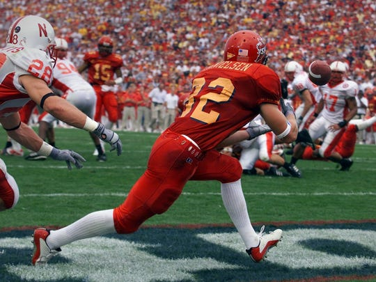 Cyclone receiver Lane Danielsen catches a touchdown against Nebraska during Iowa State's 36-14 win over the Huskers in 2002.