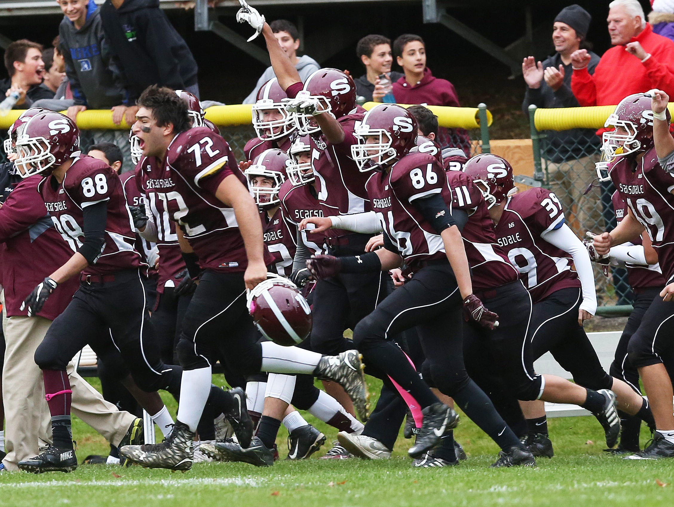 Scarsdale defeated Mahopac 33-28 in a boys football playoff game at Scarsdale High School Oct. 24, 2015.