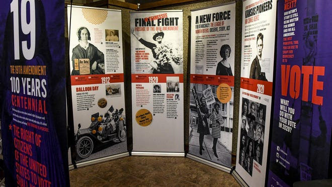 A statewide traveling exhibit on the 19th Amendment centennial is now on exhibit through Nov. 6 at the Finney County Historical Museum's Front Door Gallery. The exhibit focuses on the struggle by Kansas and American women to gain the right to vote, which was achieved nationally 100 years ago when Tennessee became the necessary 36th U.S. state to ratify the constitutional amendment.  Women in Kansas succeeded in gaining the vote eight years earlier in 1912, but continued to push for universal American suffrage. The seven-panel exhibit is spnsored by the League of Women Voters of Kansas, and can be seen during the museum's normal hours of operation, 1-5 p.m. each day.