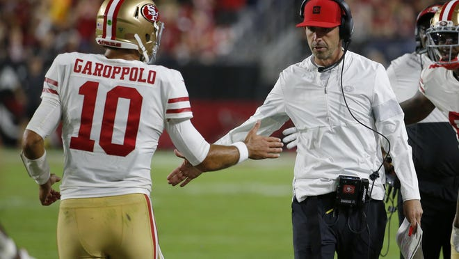 Quarterback Jimmy Garoppolo (10) and coach Kyle Shanahan led the San Francisco 49ers to the Super Bowl last season.