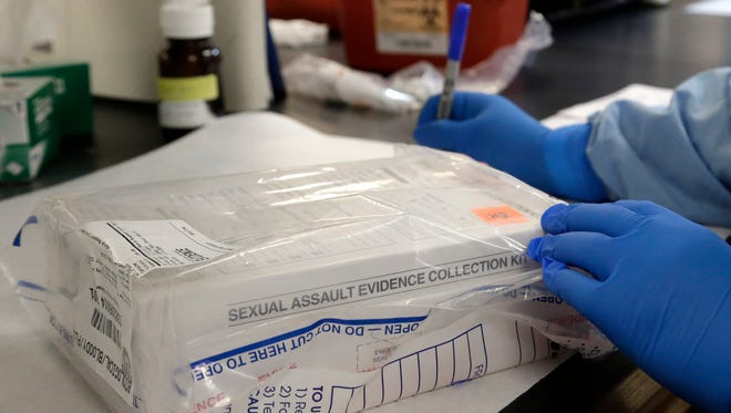 A sexual assault evidence kit is logged in the biology lab at the Houston Forensic Science Center in Houston in April.