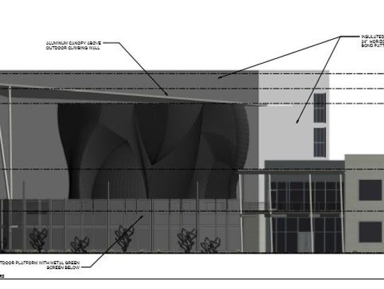 East side of the proposed High Point Climbing gym.