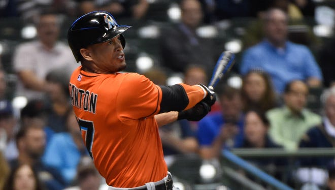 Giancarlo Stanton, 24, has 154 home runs, tied for the Marlins franchise lead.
