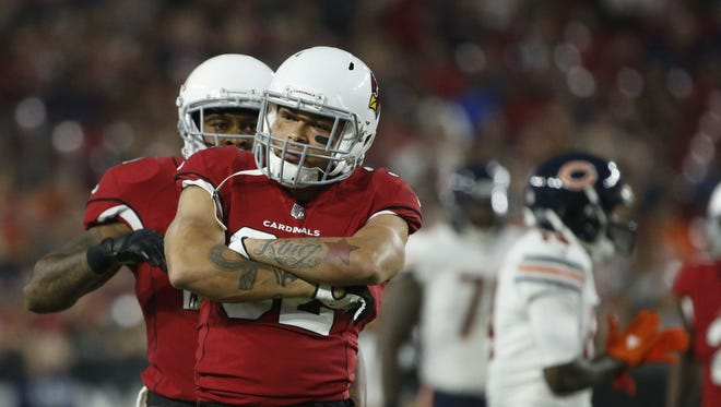 Cardinals Tyrann Mathieu (32) celebrates a tackle against the Bears during the first half at University of Phoenix Stadium in Glendale, Ariz. on August 19, 2017.