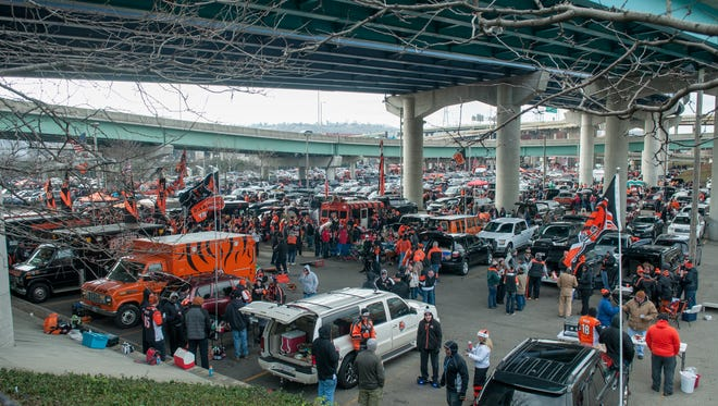 Fans tailgate before the Bengals - Ravens game.