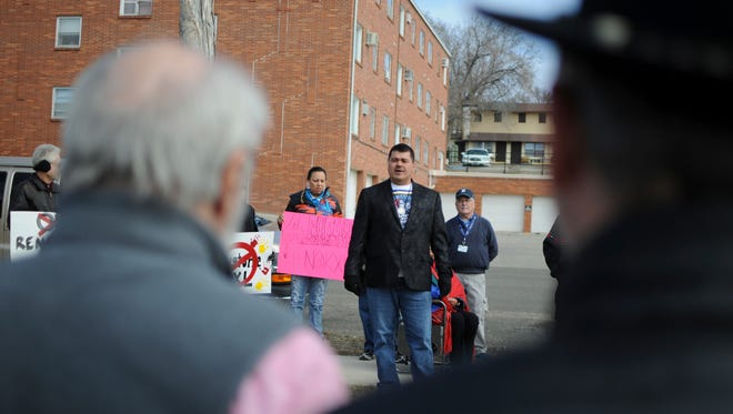 Crow Creek Sioux Tribe Chairman Brandon Sazue speaks to a crowd of more than 50 Keystone XL pipeline opponents at a rally in Pierre on March 8.
