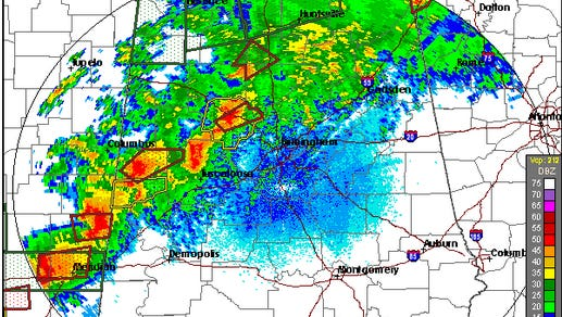 The latest radar from the National Weather Service in Birmingham.