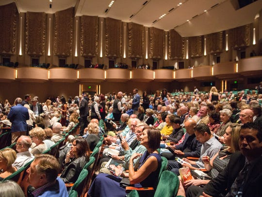 Guests of the Naples International Film Festival fill the seats of Hayes Hall at ArtisÑNaples on Thursday, Oct. 26, 2017. Attendees enjoyed drinks and snacks before a screening of the festival's opening film, followed by a question and answer session.