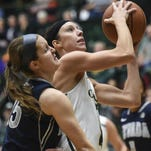 CSU's Jamie Patrick, right, in a game against Nevada last season. The Rams play at Nevada at 5 p.m. Saturday.