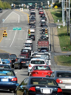Traffic is backed up along Old Hickory Boulevard, which serves as the border between Davidson and Williamson counties.
