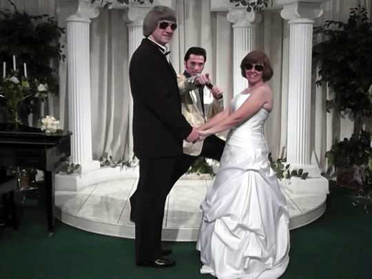 In this Oct. 29, 2011, image made from a video provided by A Elvis Chapel, David Allen Turpin, left, and his wife, Louise Anna Turpin, right, celebrate a renewal of their wedding vows with Elvis impersonator Kent Ripley in Las Vegas.