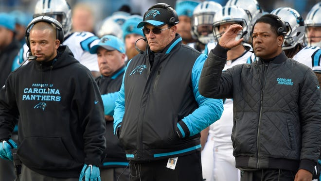 Carolina Panthers head coach Ron Rivera reacts on the sideline during the fourth quarter against the Seattle Seahawks in a NFC Divisional round playoff game at Bank of America Stadium.