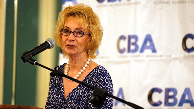 Joyce Wilson, CEO of Workforce Solutions Borderplex, speaks Wednesday afternoon at the monthly Central Business Association luncheon at the Camino Real Hotel. Wilson, who was the guest speaker, said she sees synergy as El Paso grows.