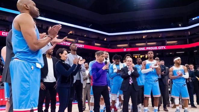 Sacramento Kings majority owner Vivek Ranadive addresses the fans after the game at Golden 1 Center.