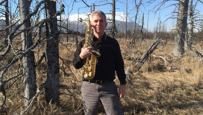 Mansfield University music professor Joe Murphy in Alaska, where he performed in his 50th state.