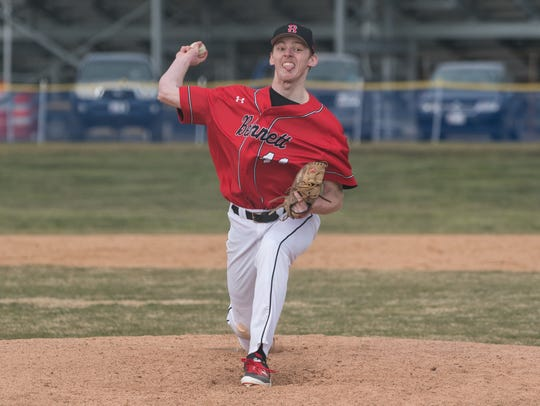 James M. Bennett pitcher Dallas Repine (44) throws