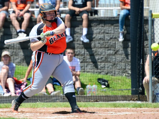 Gibsonburg's Coral Kocsis likes a pitch Wednesday.