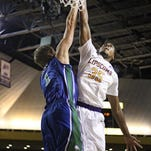 Lipscomb forward Martin Smith (35) shoots over Florida Gulf Coast's Nate Hicks during the first half Thursday night at Allen Arena.