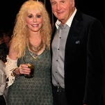 Artist Sherry Wolf and Jerry Weintraub attend a reception at Weintraub's Palm Desert house following Wolf's art opening at the Imago Galleries.