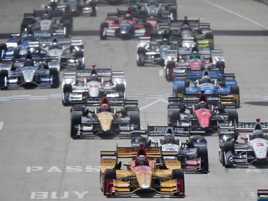 Cars start the Chevrolet Detroit Grand Prix IndyCar Championship Sunday, June 4 , 2017 on Belle Isle in Detroit.