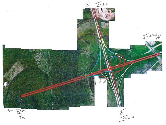 A second variation proposed for the traffic pattern of an expanded interchange at I-20 and I-220 in Bossier Parish, by the Louisiana Department of Transportation and Development.