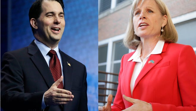 Republican Gov. Scott Walker, left, and Democratic challenger Mary Burke face off in this fall's election.