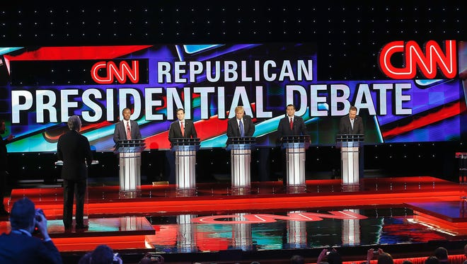 Republican presidential candidates, from left, Ben Carson, Marco Rubio, Donald Trump, Ted Cruz and John Kasich participate in a debate at the University of Houston last week. US Republican Presidential Candidates (L-R) Ben Carson , Marco Rubio , Donald Trump, Ted Cruz and John Kasich participate in the Republican Presidential Debate at the University of Houston in Houston, Texas on February 25, 2016. / AFP / Thomas B. SheaTHOMAS B. SHEA/AFP/Getty Images ORIG FILE ID: 549359758