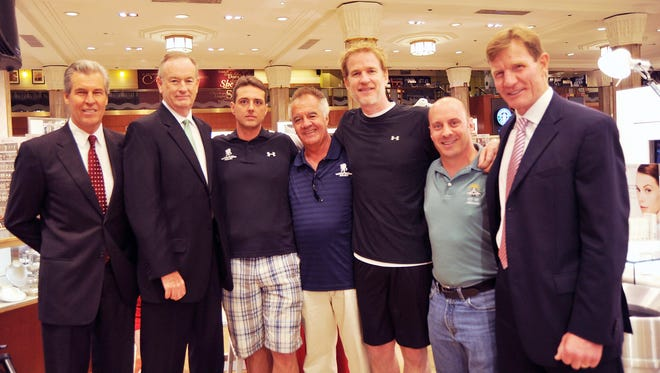 Steve Nardizzi, third from left, is seen with, left to right, Terry Lundgren, Bill O'Reilly, Tony Sirico,Matthew Modine,Garret Reisman and Mark Cosby at the 2010 Wounded Warrior Project Soldier Ride at Macy's Herald Square on July 22, 2010, in New York City.