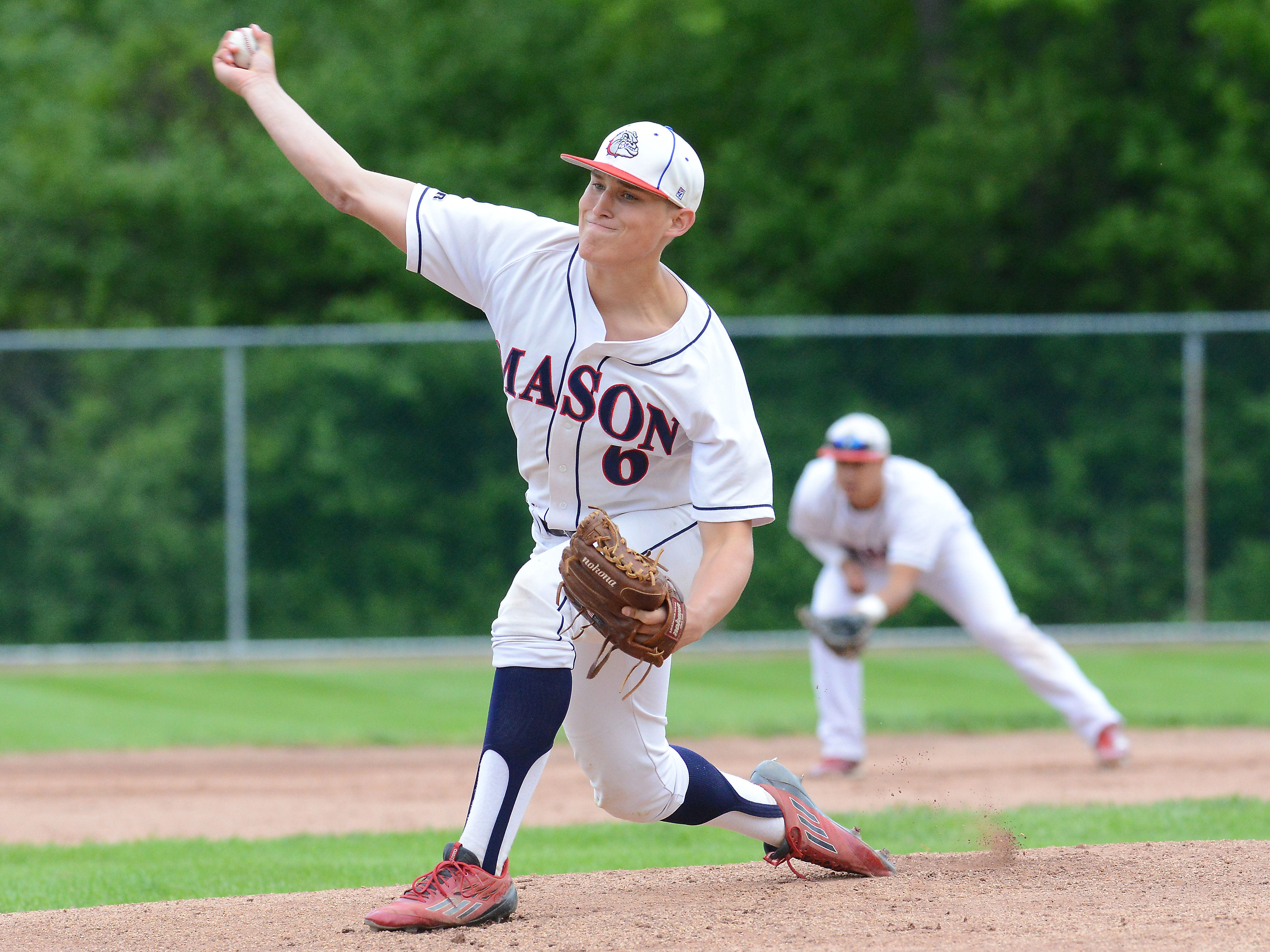 Mason's Harrison Kinney throws a pitch in the first inning of his 3-2 victory Wednesday over Portland in the Diamond Classic.