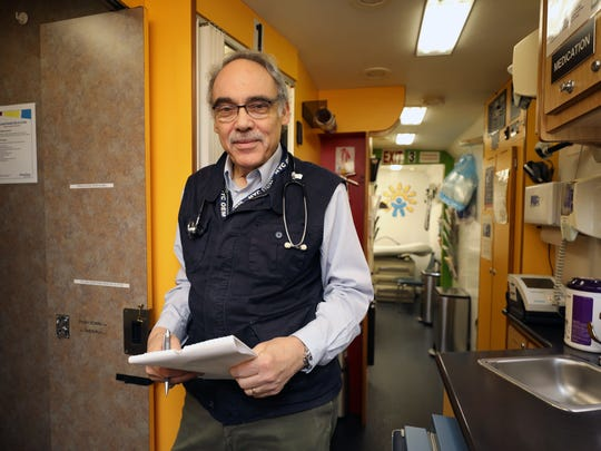 Irwin Redlener, M.D., is pictured inside of the New York Children's Health Project mobile clinic along West 126th Street in New York, Oct. 12, 2017.