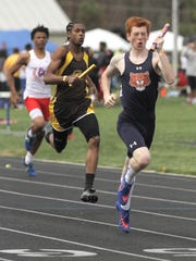 Galion's Colin McCullough, competing here on the sixth-place 4x200 relay crew, also medaled in the 110 high hurdles and won the 300 hurdles at Saturday's 85th Mehock Relays.