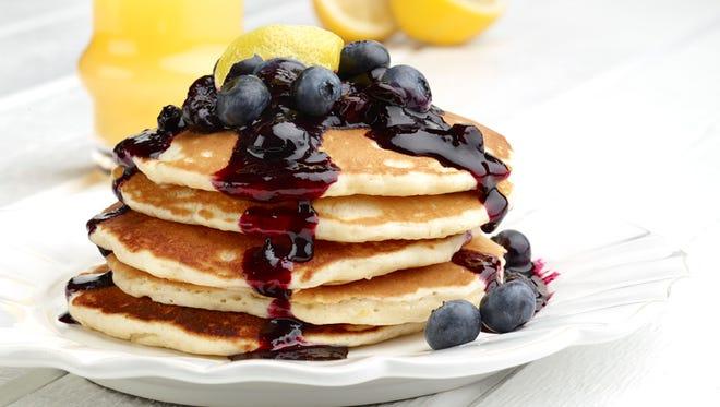 Lemon souffle pancakes with blueberry compote won 2013 best B&B breakfast on BedandBreakfast.com.