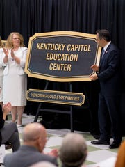 Gov. Matt Bevin unveils plaques with the re-named Jane Beshear Capitol Education Center to now honor the building for Gold Star Families on Nov. 21, 2016, at Capitol Education Building in Frankfort.