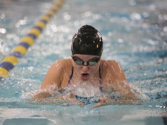 Parsippany Hills freshman Samantha Fornini swims breaststroke