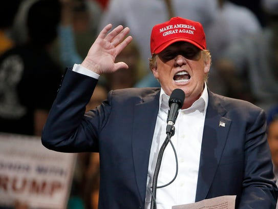 Donald Trump speaks at a campaign rally in Tucson on