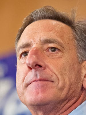 Gov. Peter Shumlin speaks at Democratic Party headquarters at the Hilton Burlington on Tuesday.