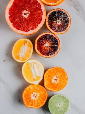 Grapefruits, blood oranges, Meyer lemons, tangerines and limes offer a rainbow of color.