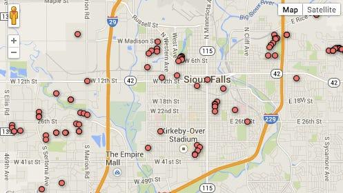 Map of vandalism reports