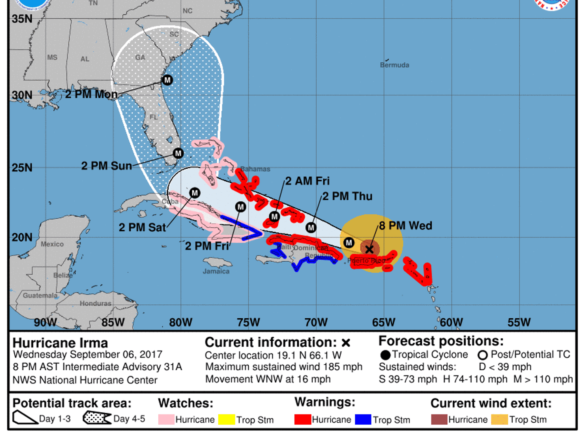 Projected path of Hurricane Irma as of 8 p.m. Wednesday,
