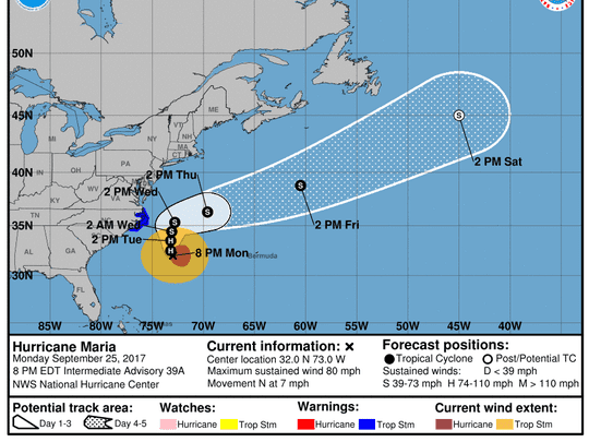 Projected path of Hurricane Maria as of 8 p.m. Monday, Sept. 25, 2017.